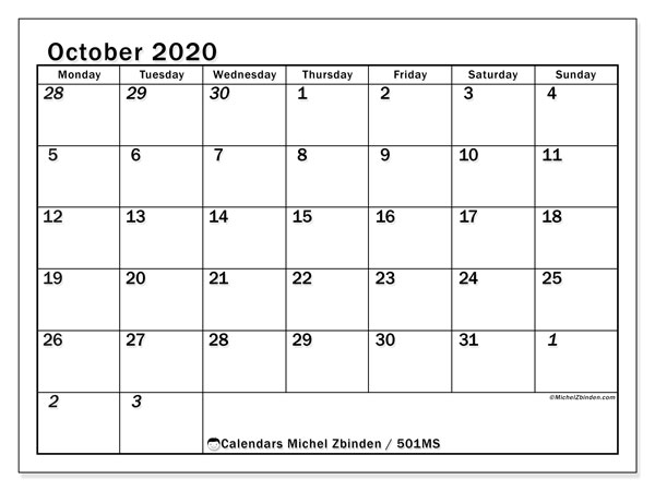 Printable calendar, October 2020, 501MS