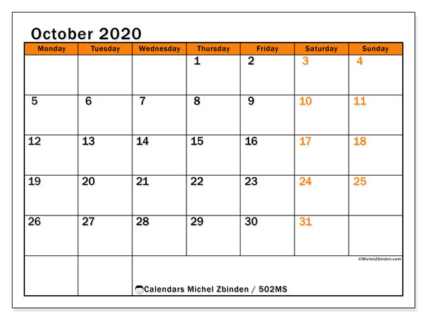 Printable calendar, October 2020, 502MS