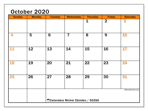 Printable calendar, October 2020, 502SS