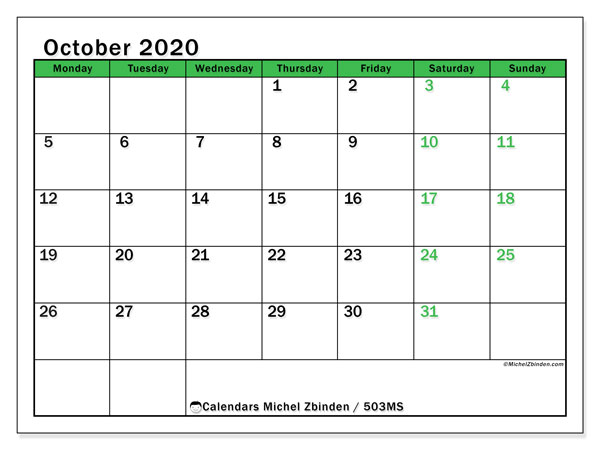 Printable calendar, October 2020, 503MS