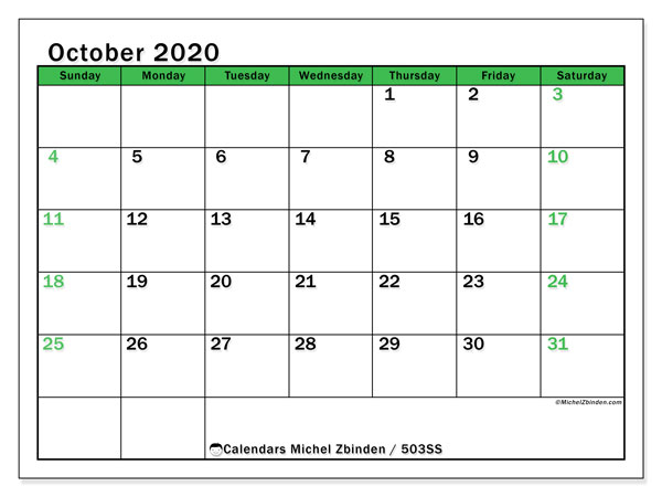 Printable calendar, October 2020, 503SS