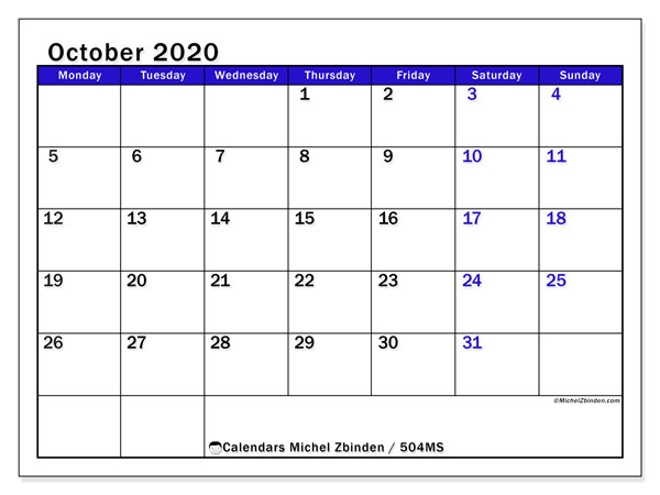 Printable calendar, October 2020, 504MS