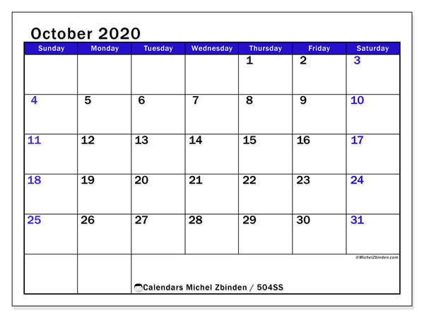 Printable calendar, October 2020, 504SS