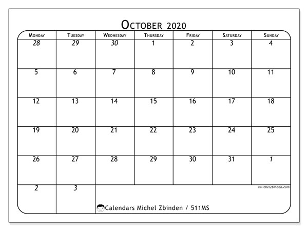 Printable calendar, October 2020, 511MS