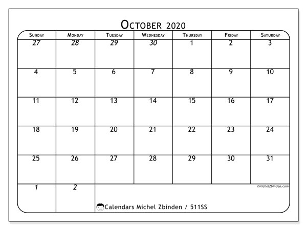 Printable calendar, October 2020, 511SS