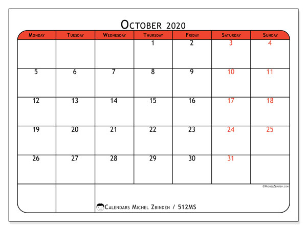 Printable calendar, October 2020, 512MS