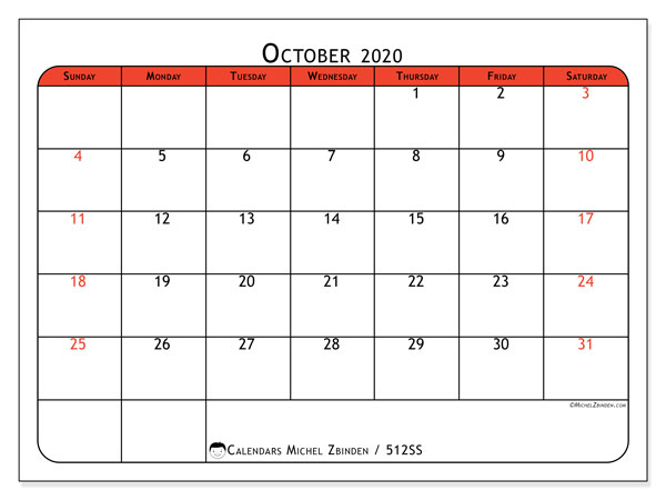 Printable calendar, October 2020, 512SS