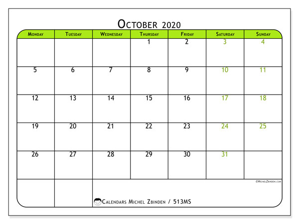 Printable calendar, October 2020, 513MS