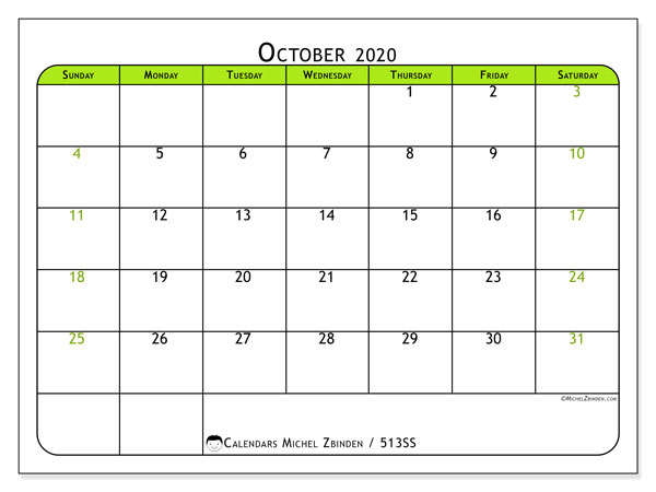 Printable calendar, October 2020, 513SS