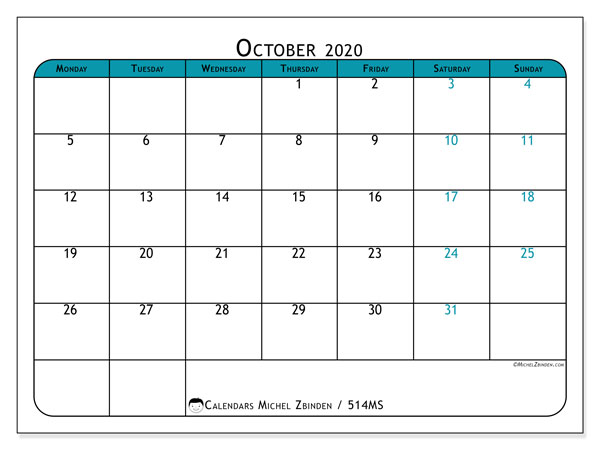 Printable calendar, October 2020, 514MS