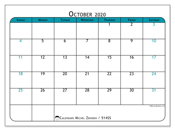 "Printable October 2020 calendar. Monthly calendar ""514SS"" and free printable timetable"