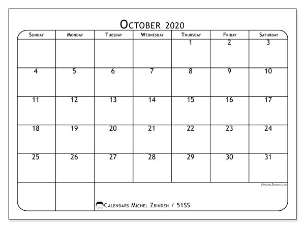 October 2020 Calendar, 51SS. Monthly planner to print free.