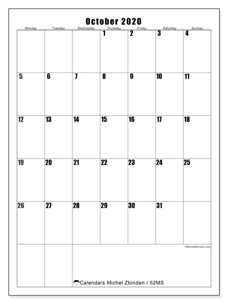 October 2020 Calendar, 52MS. Planner to print free.