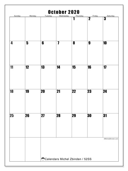 Calendar October 2020 - 52SS. Vertical. Monthly Calendar and free planner to print.