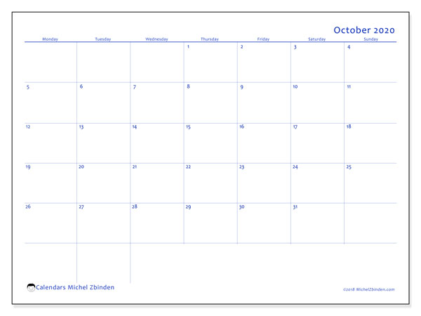 October 2020 Calendar, 55MS. Free calendar to print.