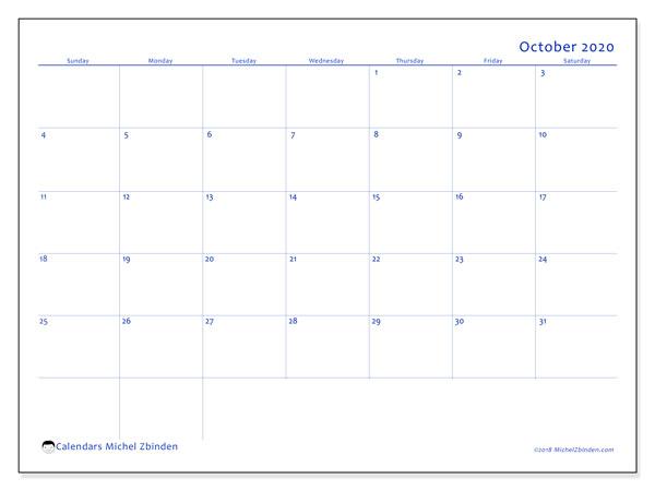 October 2020 Calendar, 55SS. Free printable monthly calendar.
