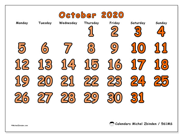 Printable calendar, October 2020, 561MS