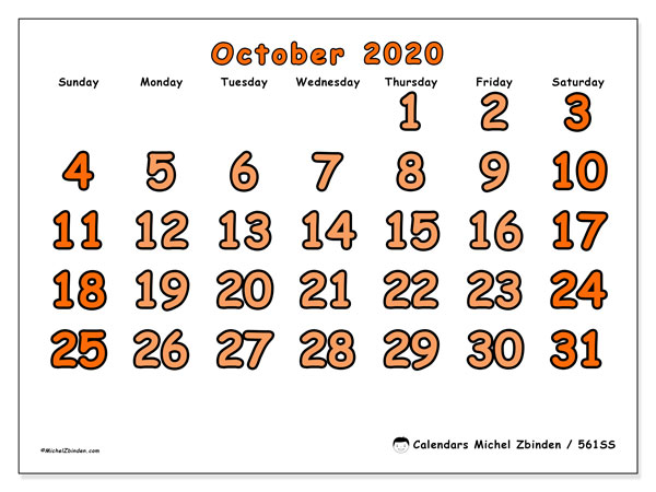 Printable calendar, October 2020, 561SS