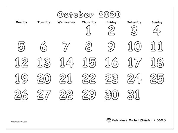 Printable calendar, October 2020, 56MS