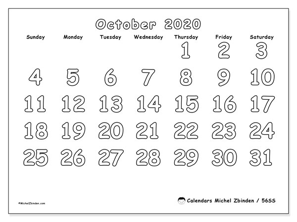 October 2020 Calendar, 56SS. Monthly planner to print free.