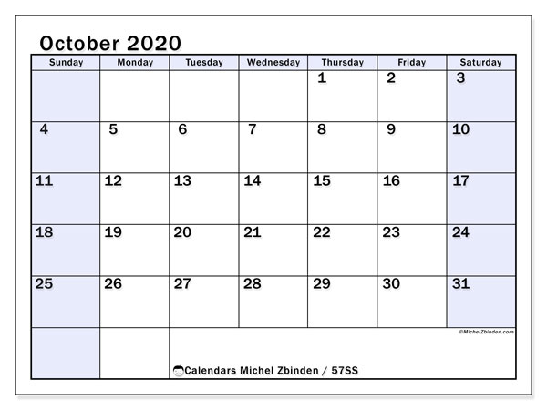 October 2020 Calendar, 57SS. Monthly calendar to print free.