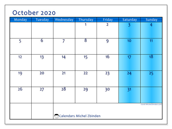 October 2020 Calendar, 58MS. Planner to print free.