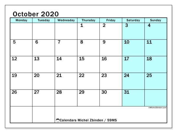Calendar October 2020 - 59MS. South Turquoise. Monthly Calendar and agenda to print free.