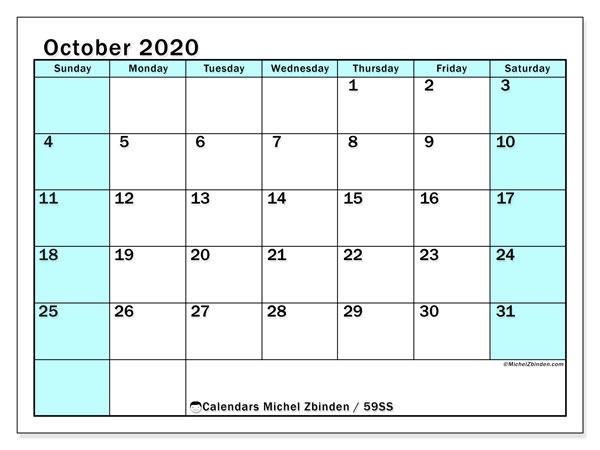 October 2020 Calendar, 59SS. Free printable planner.