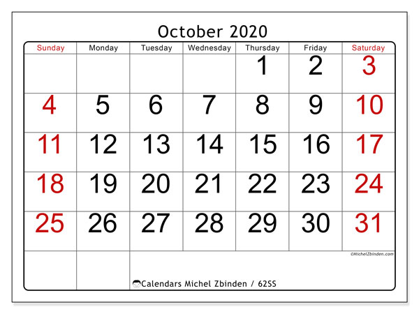 October 2020 Calendar, 62SS. Free planner to print.