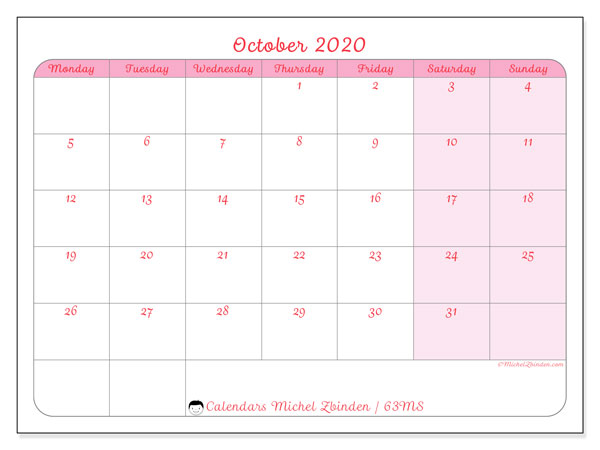 Printable calendar, October 2020, 63MS