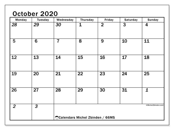 October 2020 Calendar, 66MS. Bullet journal to print free.