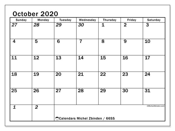 October 2020 Calendar, 66SS. Free printable planner.