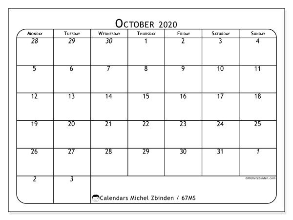 October 2020 Calendar, 67MS. Planner to print free.
