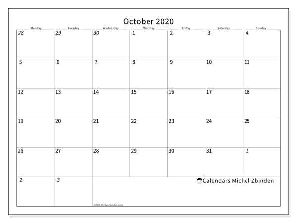 October 2020 Calendar, 70MS. Calendar for the month to print free.