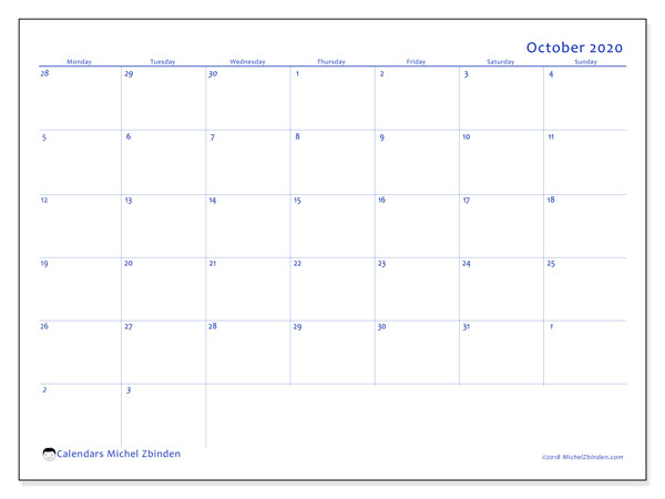 October 2020 Calendar, 73MS. Monthly calendar to print free.