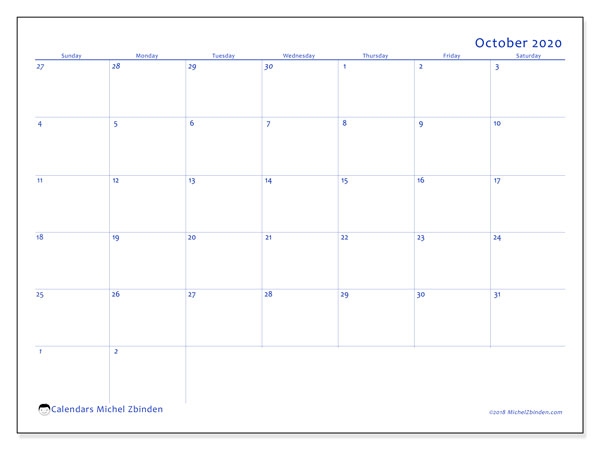 October 2020 Calendar, 73SS. Calendar for the month to print free.
