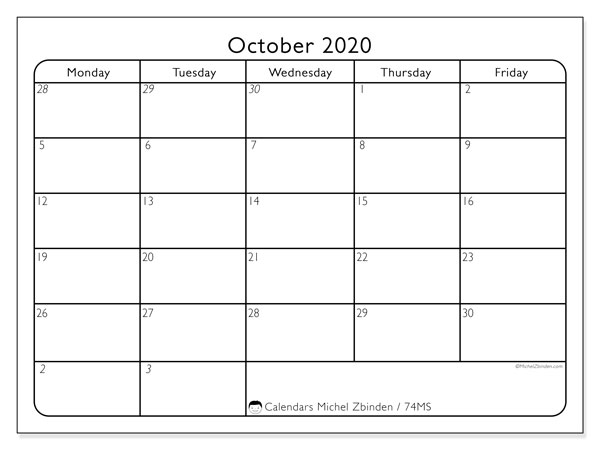 October 2020 Calendar, 74MS. Calendar for the month to print free.