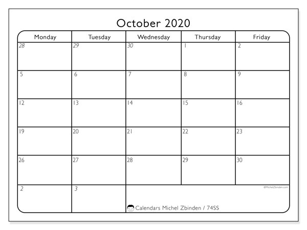 October 2020 Calendar, 74SS. Monthly planner to print free.
