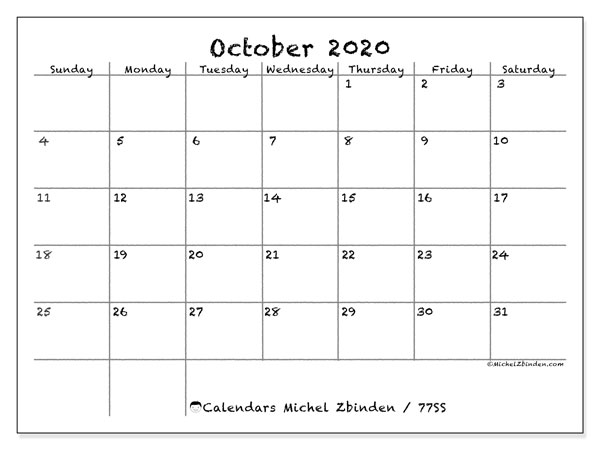 October 2020 Calendar, 77SS. Free calendar to print.