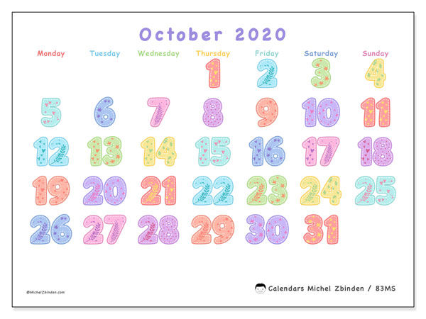 October 2020 Calendar, 83MS. Monthly planner to print free.