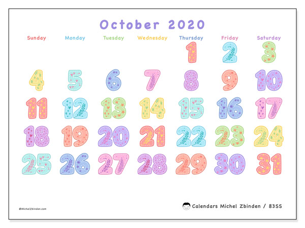 October 2020 Calendar, 83SS. Calendar for the month to print free.