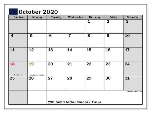 "Printable ""Alaska"" calendar with public holidays. Monthly October 2020 calendar and free timetable to print."