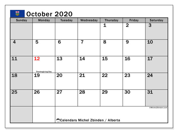 Calendar October 2020 - Alberta. Public Holidays. Monthly Calendar and free printable planner.