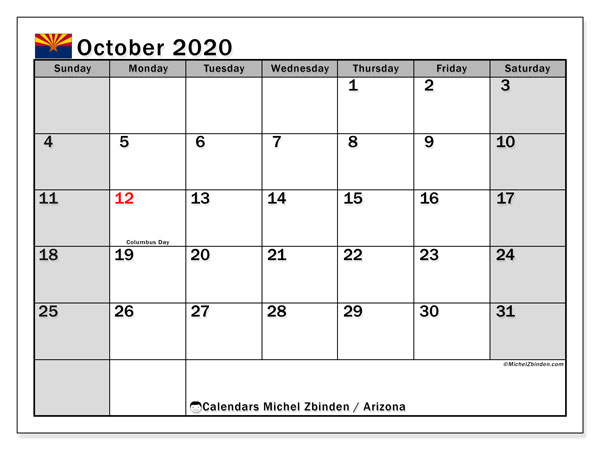"Printable ""Arizona"" calendar with public holidays. Monthly October 2020 calendar and free printable planner."