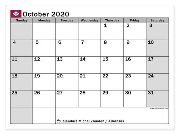 Calendar October 2020 - Arkansas. Public Holidays. Monthly Calendar and free printable timetable.
