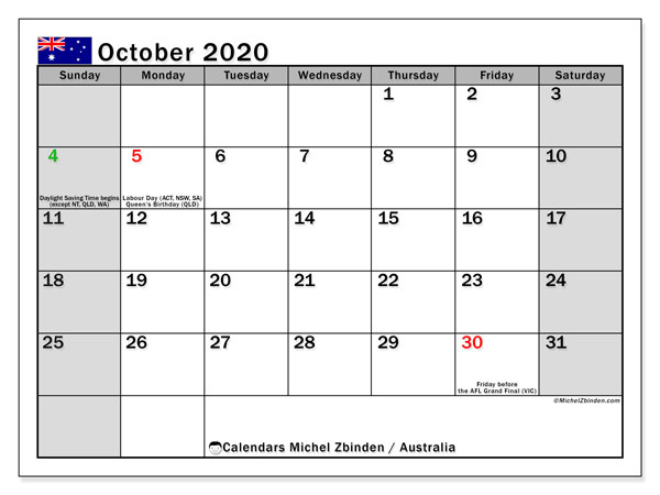 October 2020 Calendar, with the holidays of Australia. Free printable calendar with public holidays.