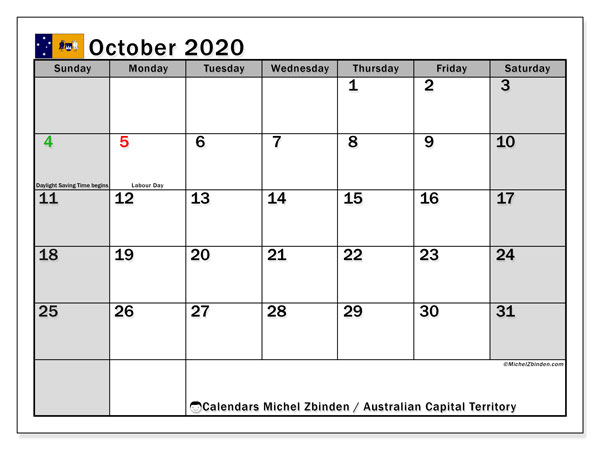 Calendar October 2020 - Australian Capital Territory. Public Holidays. Monthly Calendar and free printable schedule.
