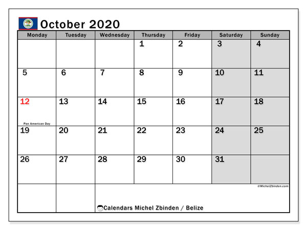 Printable calendars, October 2020, Public Holidays