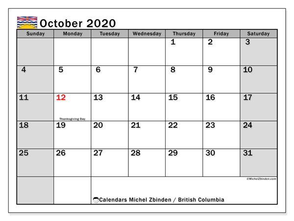 October 2020 Calendar, with the holidays of British Columbia. Free printable calendar with public holidays.