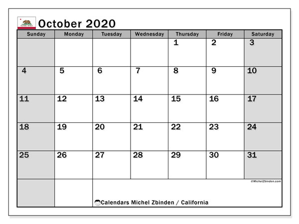 Calendar October 2020 - California. Public Holidays. Monthly Calendar and free timetable to print.